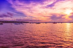Sailing. At sunset in Atlantic ocean royalty free stock photo