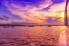 Sailing. At sunset in Atlantic ocean royalty free stock image
