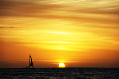 Sailing with sunset background Royalty Free Stock Photography