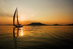 Sailing and sunset, Lake Balaton Stock Photography