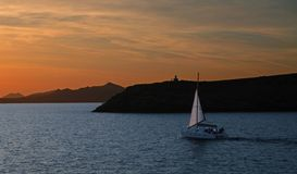 Sailing in the sunset Royalty Free Stock Images