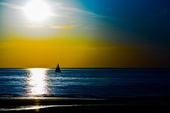 Sailing in the sunset Royalty Free Stock Image
