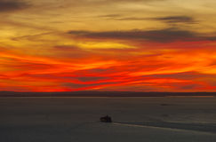 Sailing into the sunset. Ship sailing into the sunset on Port Phillip Bay Stock Photos