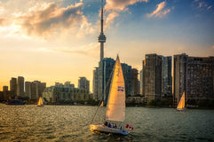 Sailing at sunset in Toronto Inner Harbour Royalty Free Stock Photo