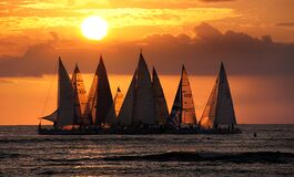 Sailing into the Sunset.Waikiki. Stock Photography