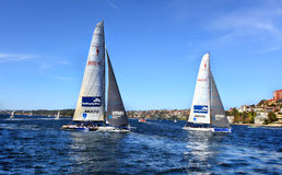 Sailing Sydney on America's Cup Yachts Royalty Free Stock Photos