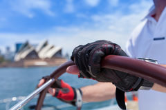 Sailing on Sydney Harbour past the Sydney Opera house Stock Image