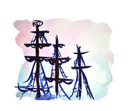 Sailing tall ship - vector watercolor painting. Silhouette of sailing tall ship by sundown sky - vector watercolor illustration vector illustration