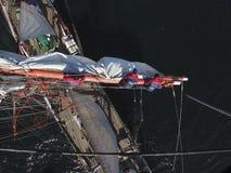 Sailing on tallship or sailboat, view from aloft Royalty Free Stock Image