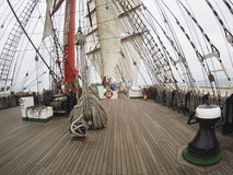 Sailing on tallship or sailboat, view from deck Royalty Free Stock Image