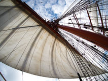 Sailing on tallship or sailboat, view of sails. Old sailboat or tallship, view of sails royalty free stock photo