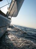 Sailing to Elba. Peacefully sailing to Elba island in the morning; Tirrenian Sea, Tuscany Stock Image