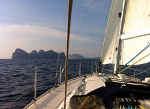 Sailing to Phi Phi islands Stock Image
