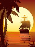 Sailing to the sun 2. Vector illustration of ancient ship sailing into the sunset Stock Photography