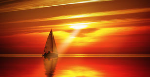Sailing to the sunset Royalty Free Stock Photo
