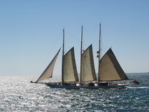 Sailing to the Vineyard. Classic Yacht off Cape Cod Sailing to Martha's Vineyard royalty free stock photography