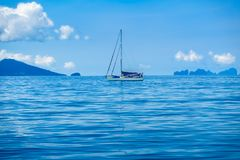 Sailing tourists in the Andaman Sea. The Indian Ocean. Tourist sailing in summer of Thailand Stock Photos