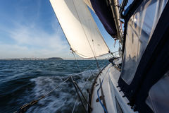 Sailing toward the bay Bridge in San Francisco Bay Stock Photography