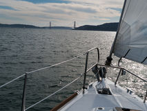 Sailing toward the Golden Gate Bridge Stock Photos