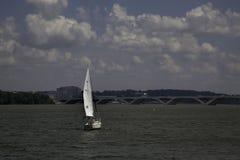 Sailing toward the Wilson Bridge and National Harbor Stock Image
