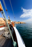 Sailing, traditional Boat. Sailing along the Portugese coast on a traditional boat Stock Images