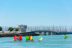Sailing training of young children in La Rochelle Stock Photo