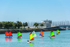 Sailing training of young children in La Rochelle Royalty Free Stock Image
