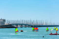 Sailing training of young children in La Rochelle Royalty Free Stock Images