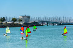 Sailing training of young children in La Rochelle Stock Photos