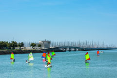 Sailing training of young children in La Rochelle Stock Images