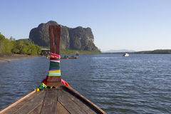 Sailing in Trang. Sailing in a long tail boat, Trang Province, Thailand royalty free stock images