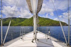 Sailing in the tropics. Beautiful view from a luxury sailboat sailing through tropical islands Stock Photography