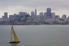 Sailing trough San Francisco Skyline Stock Photos