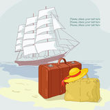 Sailing. Trunk, bag and bonnet on the sea background vector illustration
