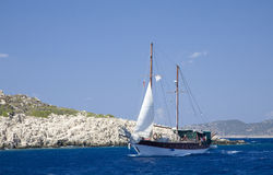 Sailing the Turquoise Coast. Ship sailing in the Mediterranean of the coast of Turkey known as the Turquoise Coast Royalty Free Stock Photos