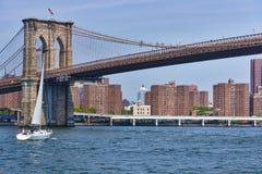 Sailing under the Brooklyn Bridge Stock Photography