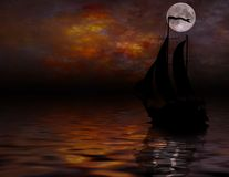 Sailing under full Moon Royalty Free Stock Photos
