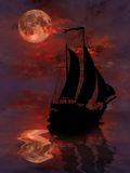 Sailing under full Moon. Sailing under Moon Rising From Water Royalty Free Stock Photos