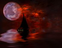 Sailing under full Moon. Sailing under Moon Rising From Water Stock Images