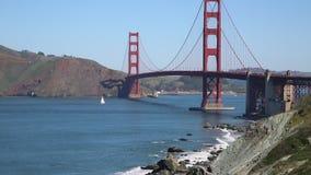 Sailing under Golden Gate Bridge. Famous landscape in San Francisco, California stock footage