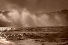 Sailing under niagara falls mist Stock Photography