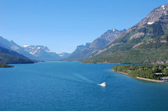 Sailing in upper waterton lake Stock Images