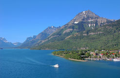 Sailing in upper waterton lake Stock Photography