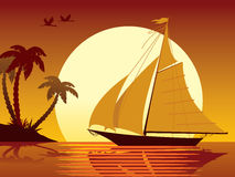 Sailing vacation. Sailing tropical vacation: ship, sunset, island and palms Royalty Free Stock Photo