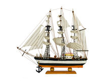 Sailing vessel. Model small sailing vessel with three masts Stock Images