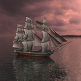 Sailing vessel. In the sea Royalty Free Stock Photo
