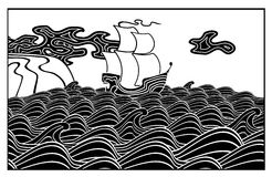 Sailing vessel. In a raging sea. Vector illustration black and white Stock Photos
