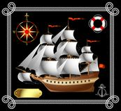 Sailing vessel. Raster version of vector sailing vessel with a wind rose, a life buoy and an anchor (contain the Clipping Path of all objects) There is in