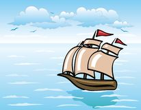 Sailing vessel. The vector image of the sailing vessel floating on the sea Stock Illustration