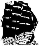 Sailing vessel. Silhouette of the big ship with sails Royalty Free Stock Image